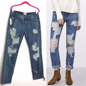 One Teaspoon Awesome Baggies Jeans Acid Destroyed